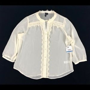 NWT RELATIVITY Off White Button Down Knit Shirt